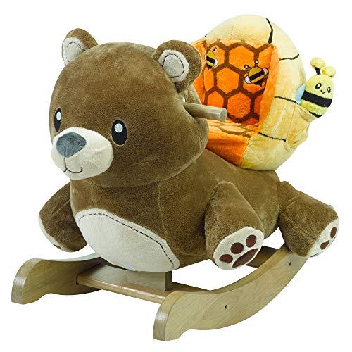 Honey Bear Rocker | Horse Plush Butterfly Baby Toy with Wooden Rocking Chiar Horse/Kid Rocking Toy/Baby Rocking Horse/Rocker/Animal ()
