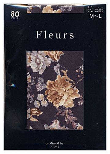 吸収剤神秘的な民族主義(フルール) Fleurs 80デニール フェルマータ 花柄 プリント タイツ(日本製 ゾッキ タイプ) M-L ブラック