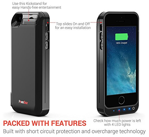 PowerBear Rechargeable Battery event together with crafted in USB PowerBank for iPhone 5S iPhone 5C iPhone 5 Black 24 Month extended warranty and monitor Protector included Battery Charger Cases