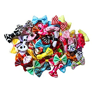 yagopet 50pcs/25pairs New Puppy Dog Hair Clips Small Bowknot with Tiny Alligator Clips Pet Grooming Products Mix Colors Varies Patterns Pet Hair Bows Dog Accessories 11
