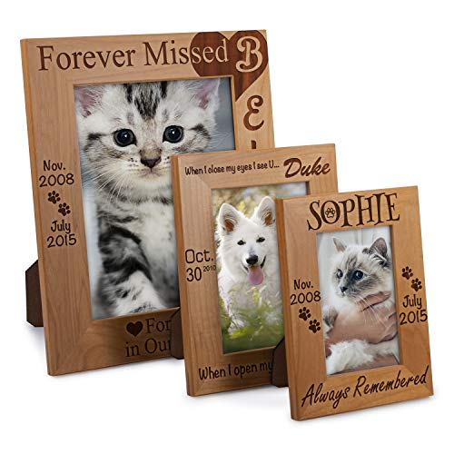 Lara Laser Works Personalized Pet Memorial Alder Wood Photo Frame Forever in Our Heart Custom Urn 5x7 Horizontal