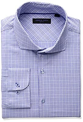 Andrew Fezza Men's Premium Fashion Textured Plaid Dress Shirt