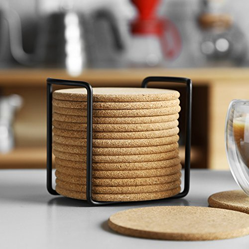 Natural Cork Coaster with Holder, Absorbent Coaster for Wine, Best for Drinks in Office, Home, or Cottage,Round, Set of 16, 4 inches by LAUCHUH (Image #2)