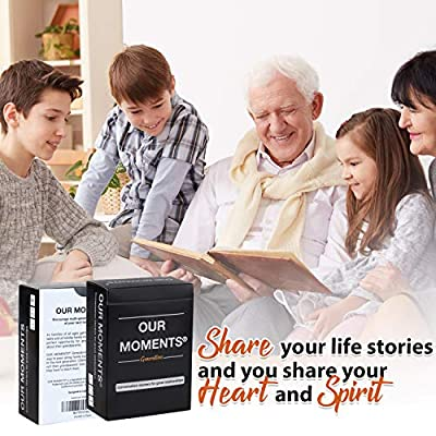 OUR MOMENTS Generations: 100 Thought Provoking Conversation Starters Questions Game. Grandchildren to Grandparents - Fun Meaningful Communication For Kid w/ Grandma & Grandpa. Gift For Family Holidays: Toys & Games