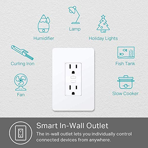 Kasa Smart Plug KP200, In-Wall Smart Home Wi-Fi Outlet Works with Alexa, Google Home & IFTTT, No Hub Required, Remote…