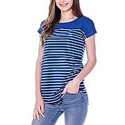 Smallshow Women's Navy Stripe Maternity Nursing Top Short Sleeve T-Shirt for Breastfeeding (XL)