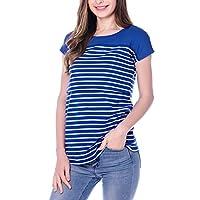 SmallShow Women's Navy Stripe Maternity Nursing Top Short Sleeve T-shirt for ...