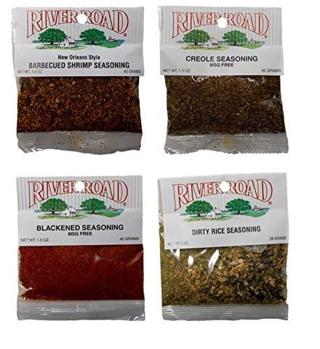- River Road by Fiesta Cajun Seasoning Favorites 4 Flavor Assortment Bundle, 1 each: New Orleans Style BBQ Shrimp, Creole, Blackened, Dirty Rice (1-1.5 Ounces)