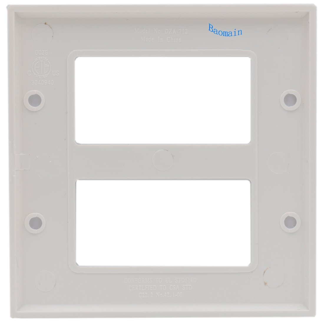 2-Gang Standard Size,Coverplate White 2Pack Baomain Electric Co Ltd Baomain Screw Decorator Switch Wall Plate DZA-712 Wallplate