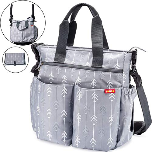 Diaper Bag for Baby By Zohzo - Diaper Tote Bag With Changing Pad, Insulated Pockets, Wipes Pocket, Waterproof Material, Stroller Straps, and Shoulder Strap