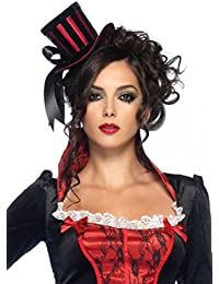 Steampunk Mini Black and Red Striped Satin Top Hat with Ribbon