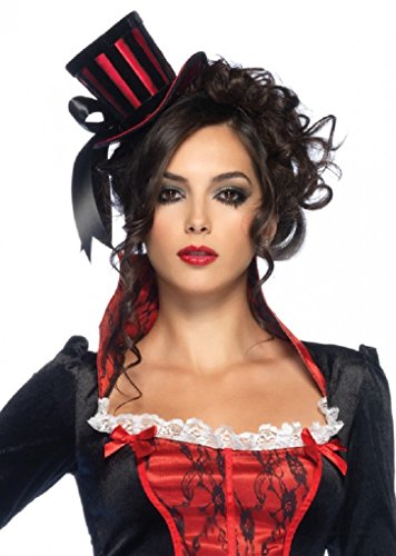 (Leg Avenue - Steampunk Mini Black and Red Striped Satin Top Hat with Ribbon)