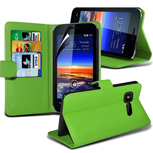 Fone-Case ( Green ) Vodafone Smart 4 Mini Faux Stylish PU Leather Wallet Credit / Debit Card Flip Case Skin Cover With Screen Protector Guard