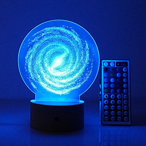 3D Led Night Light Remote Control Table Desk Lamps,Elstey 20 Color Changing Optical Illusions Lamp Acrylic Panel & Wooden Base Light for Holiday Gifts (Galaxy)
