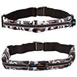 RoryTory 2pc Sleek Camo Reflective Expandable Sports Runner Exercise Belt Waist Pack Accessory Set