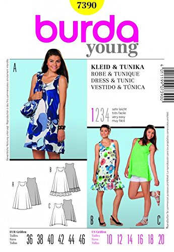 Burda Ladies Young Fashion Easy Sewing Pattern 7390 - Dresses & Top ...