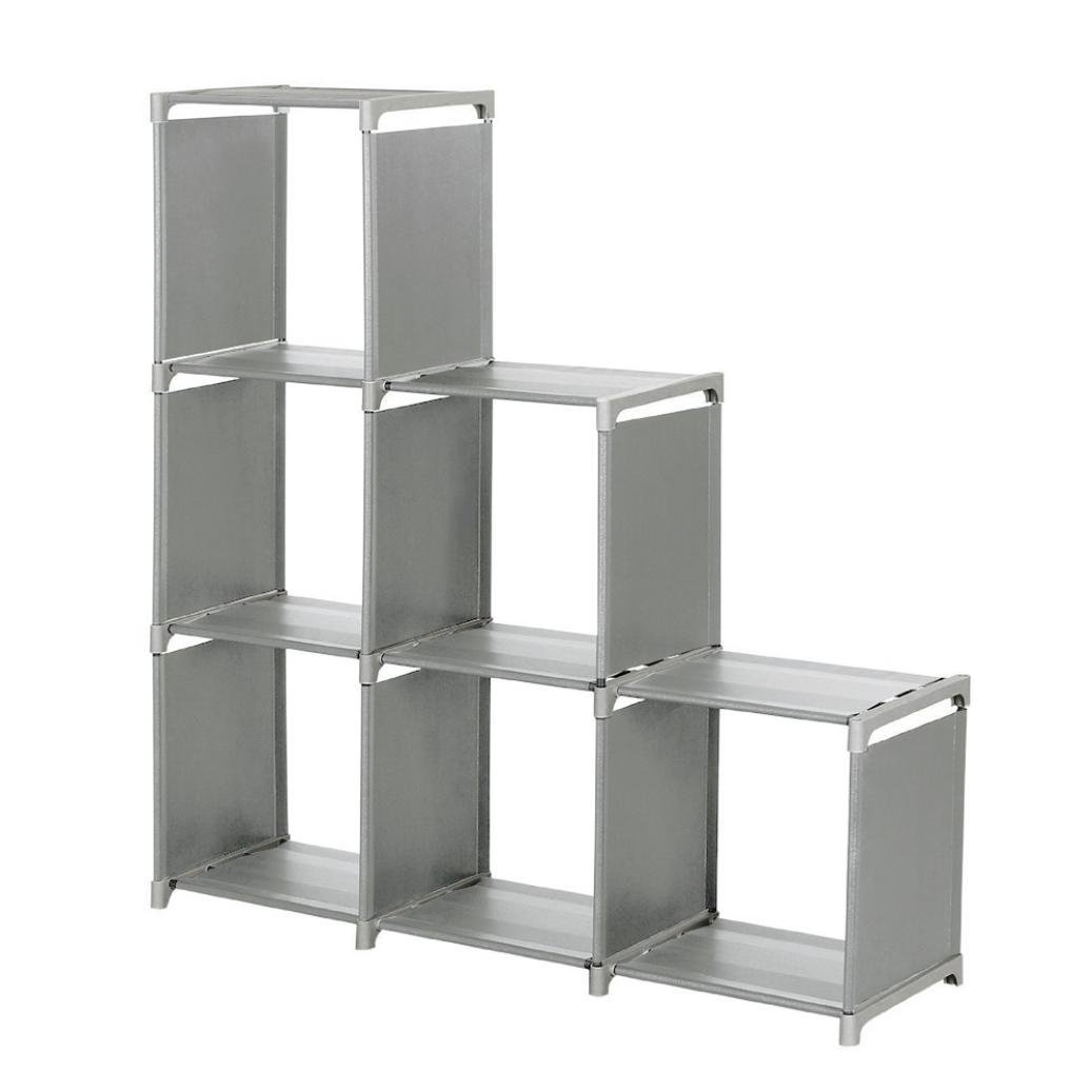 iMakcc 3-Tier Storage Cube Closet Organizer Shelf 6-Cube Cabinet Bookcase Space-Save (Grey)