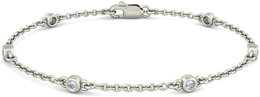 HallMarked 14K White Gold IJ| SI 0.217 cttw Round-Cut-Diamond identification-bracelets Size 9.5 inches