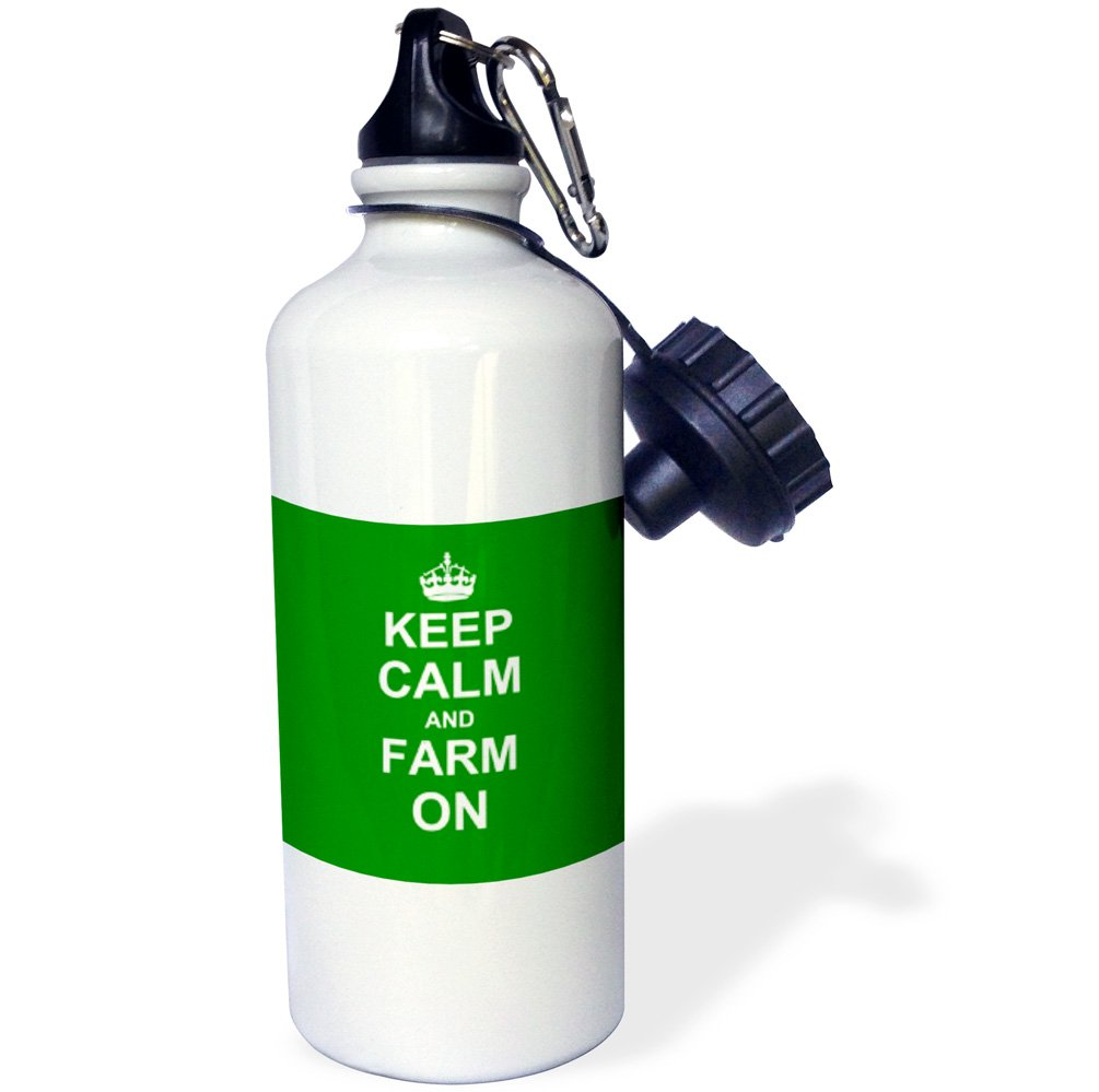 White 21 oz 3dRose wb/_157717/_1Keep Calm and Farm on-carry on farming-gift for farmers-Green motivational motivating calming Sports Water Bottle