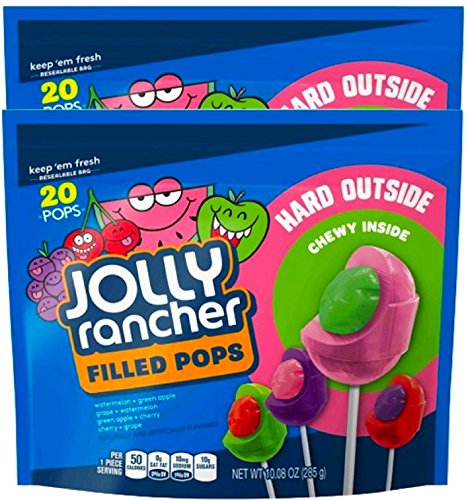 NEW Jolly Rancher Filled Pops Resealable Bag Hard Outside Chewy Inside - 10.8oz - 20ct (2) ()