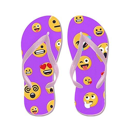 Cafepress Smiley Emoji Pattern - Tongs, Sandales Rigolotes, Sandales De Plage Rose
