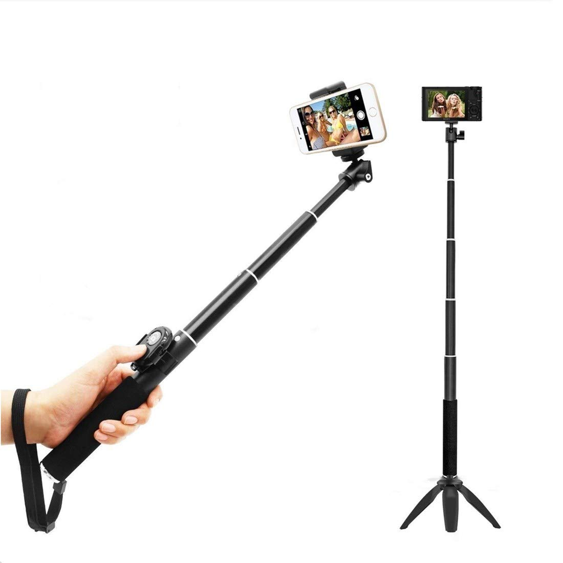 Professional High End Alloy Rugged Selfie Stick, Tripod with Bluetooth Remote for 3-in-1 Kit Universal: iPhone, Android, GoPro or Camera – iPhone X/8/8P/7/7P/6s/6P/5S, Galaxy S6/S7/S8 (Black)