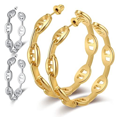 Heytree 2 Pairs Gold and Silver Vintage Chain Hoop Earrings Women Geometric Round Simple Chain Hoop Earrings