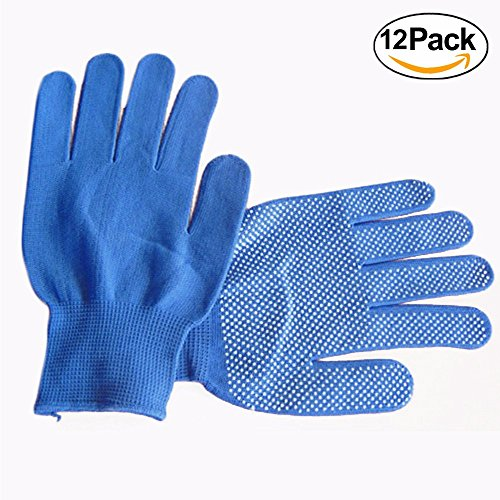 Wideskall 12 Pairs PVC Latex Coated Palms Dots String Knit Safety Work Glove (Medium, Blue) -