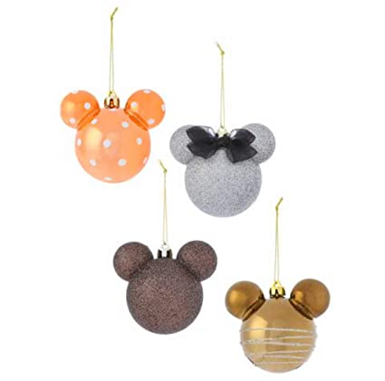 Primark Official Disney Large Mickey Mouse Baubles 4pack Brown Silver Gold Bronze Glitter