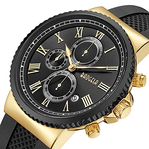 BAOGELA Mens Luxury Chronograph Analog Quartz Watch with Black Silicone Band and Gold Big Face Waterproof Watches for Men ()