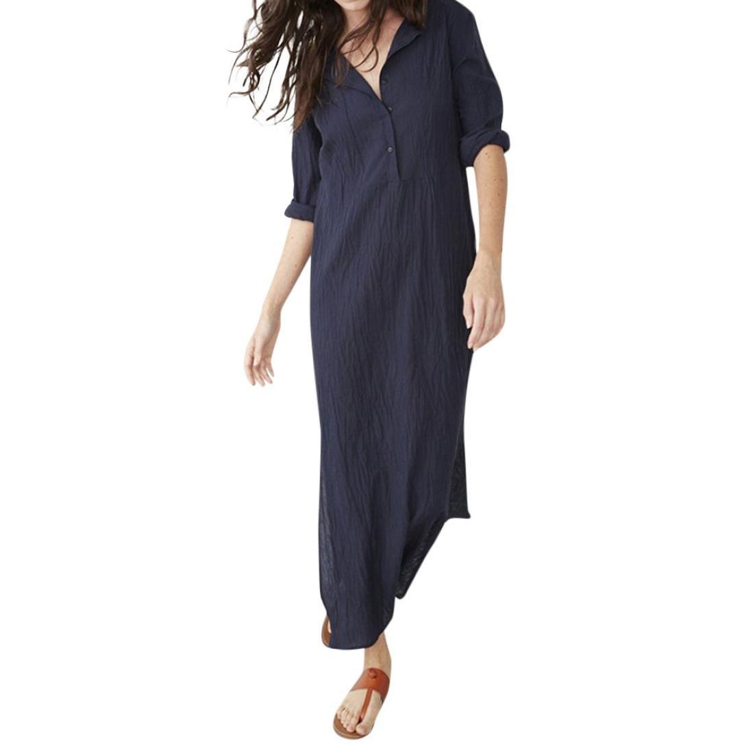 Long Sleeve Splits Linen Maxi Dress Women's Casual O-Neck Button Baggy Dress