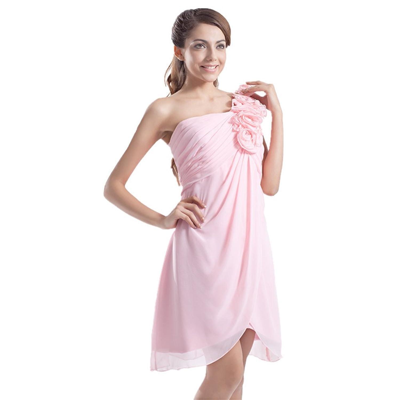 Jspoir Melodiz Women's Chiffon One Shoulder Short Mini Wedding Dress