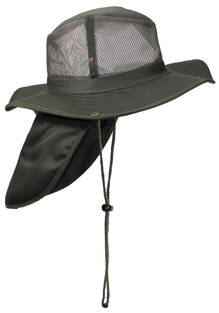9f91b2b6c14f6 Tropic Hats Packable Wide Brim Mesh Safari Outback W Neck Flap   Snap up