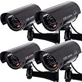 BAALAND Outdoor/Indoor Simulated Cameras Dummy Security Camera Simulation Monitor Blinking Light CCTV Surveillance, Black, 4 Pack