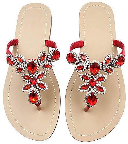 - LINH MIU Available in 10 Colors,Rhinestone Sandals,Women's Flat Sandals,Flip Flop,Jeweled Sandals Women's Flat Sandals Red
