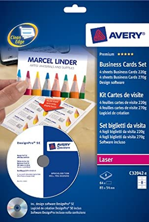 Avery Ref C32042 8 Kit Cartes De Visite Avec Logiciel Feuilles 10