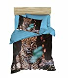 Bekata Tiger Themed, 3D Printed Quilt/Duvet Cover Set, Single/Twin Size, Blue Yellow, COMFORTER INCLUDED, Made in Turkey (5 Pcs)