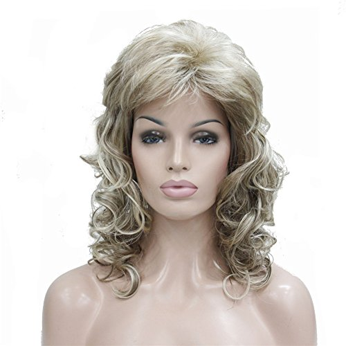 Aimole Womens Natural Long Curly Wig Synthetic Hair Full Wigs(H16-613-Blonde Highlighted)