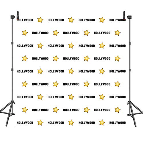 COMOPHOTO 8x8ft Hollywood Star Birthday Party Backdrop Red Carpet Events Step and Repeat Celebrity Birthday Photography Background Decorations Supplies Photo Booth Backdrops