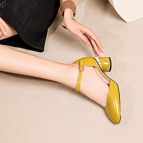 Summer Women's Low Mid Block Heel Leather Shoes Ankle Strap Sandals For Dress Evening Party Yellow 7sLvFFfO