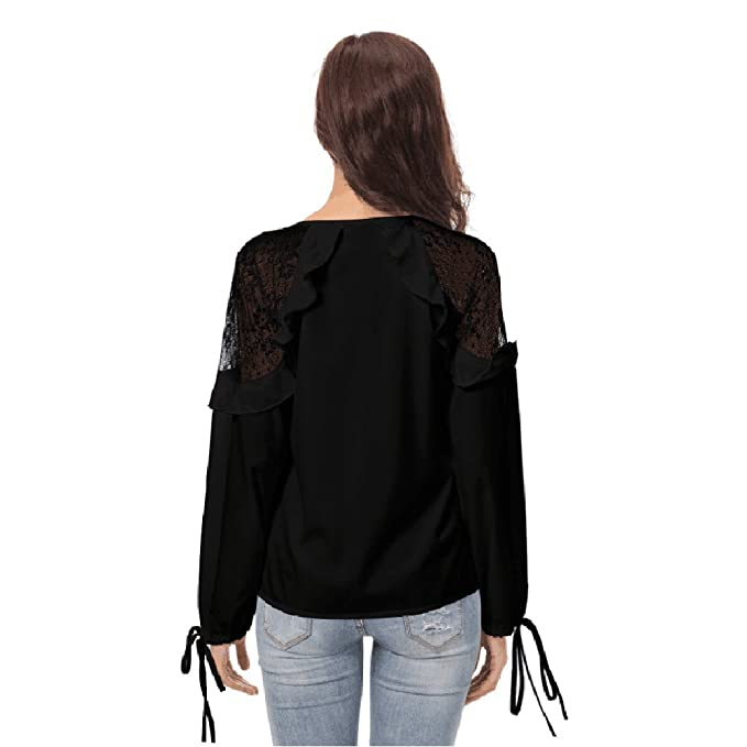 Señoras de Moda Casual Color sólido Manga Larga con Cuello en V de Encaje Suelta Camiseta Superior Transpirable: Amazon.es: Ropa y accesorios