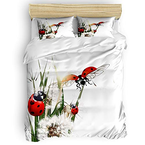 Duvet Cover Bedding Sets, Dandelion and Ladybug Ultra Soft Lightweight 4 Pieces Luxurious Bed Set 2 Pillow Shams Coverlet Bedspread for Home Decor Seven-spot Insects