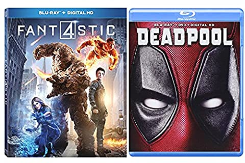 Deadpool Blu Ray & Fantastic Four (2015) - Marvel Movie Pack Super Hero Bundle Comic Digital HD (V Vendetta Steelbook)