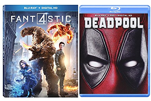 Deadpool Blu Ray & Fantastic Four (2015) - Marvel Movie Pack Super Hero Bundle Comic Digital HD Movies