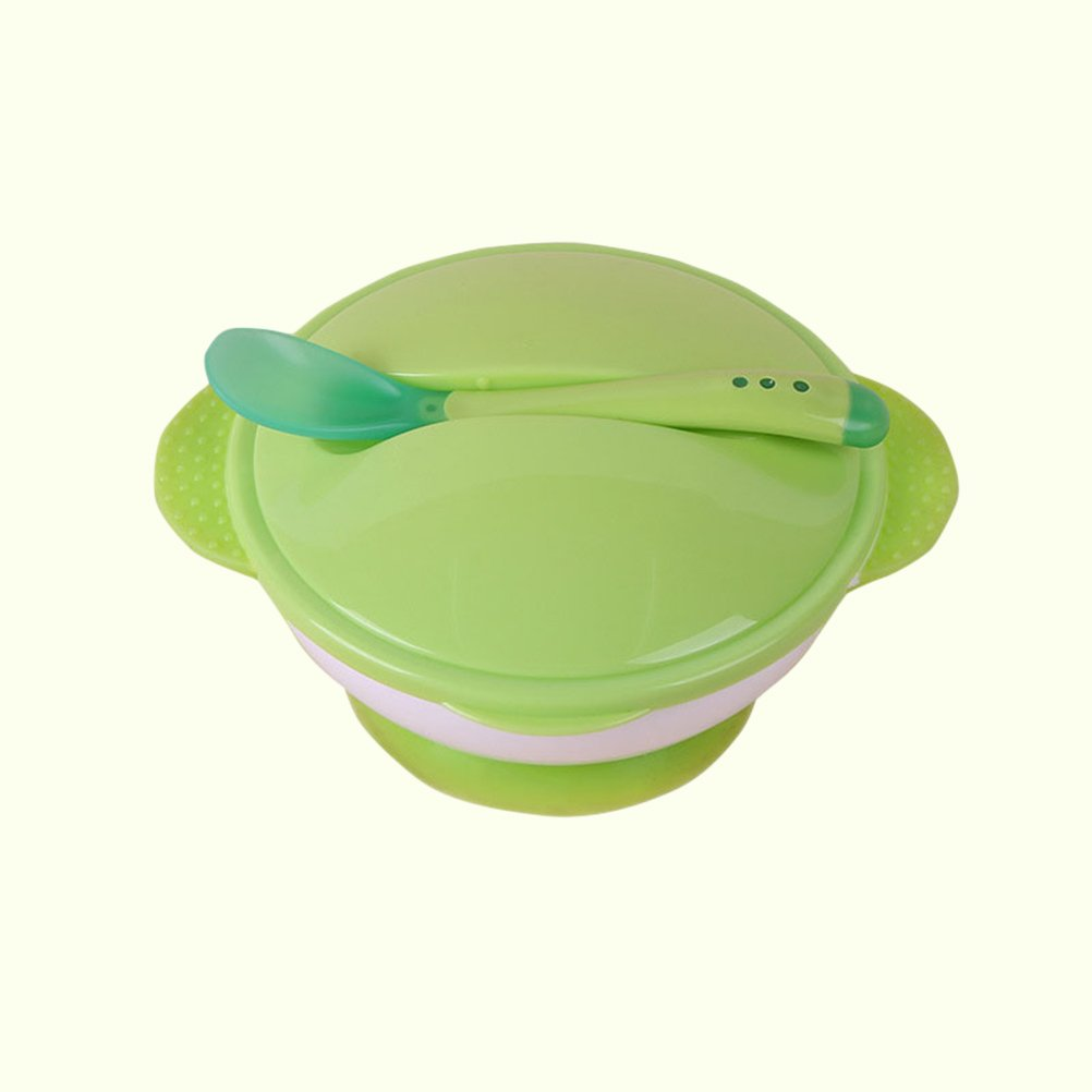 Besto Nzon Suction Bowl with Spoon Non-Slip Autumn Defence Cot Suit Infant Training Bowl Set Green