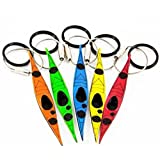 Sea Kayak Keychain Set of 5 Flexible Plastic and Stainless Steel Ring - Lightweight