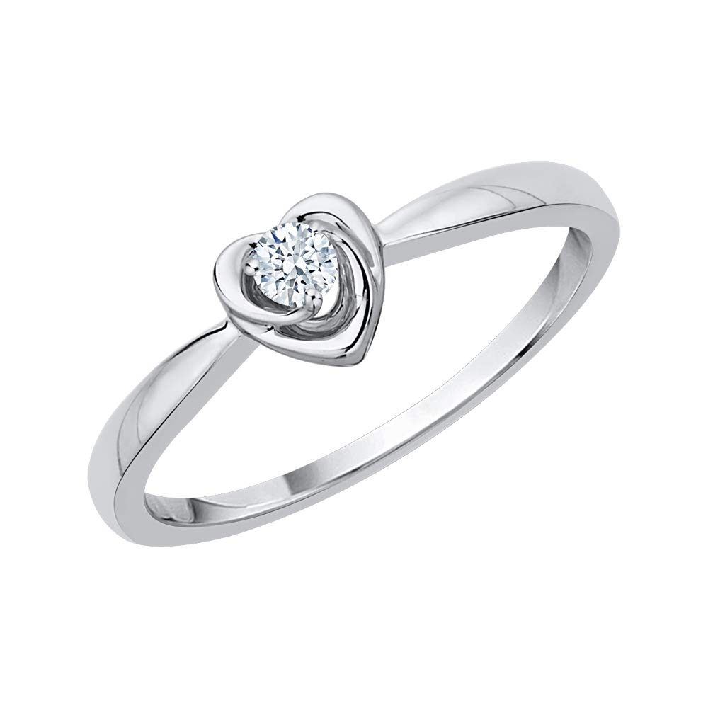 KATARINA Diamond Accent Heart Promise Ring in Sterling Silver (G-H, I2-I3) (Size-11) by KATARINA
