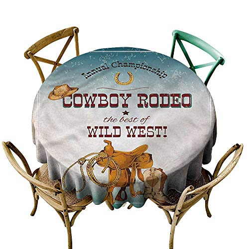 "HeKua Western,Indoor Tablecloth Cowboy Rodeo Championship D 36"" Kitchen Dinning Tabletop Decoration"