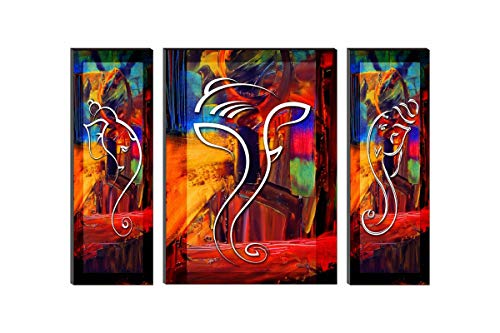 SAF UV Textured Set of 3 Ganesha Modern Art Print Panel Painting 24 inch X 18 inch AANFWF7500