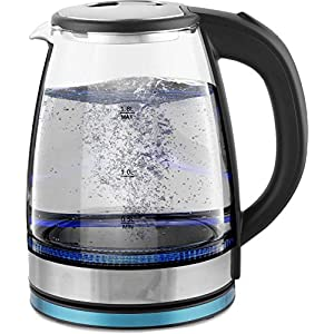Electric Kettle Hot Water Kettle 2 Litre Glass Borosilicate Body with LED Light Tea Kettle (Transparent)